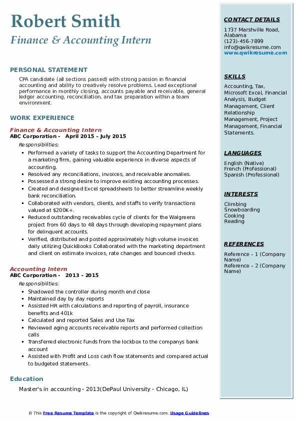 Accounting Intern Resume Samples Qwikresume