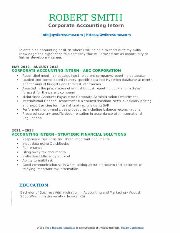 Corporate Accounting Intern Resume Model