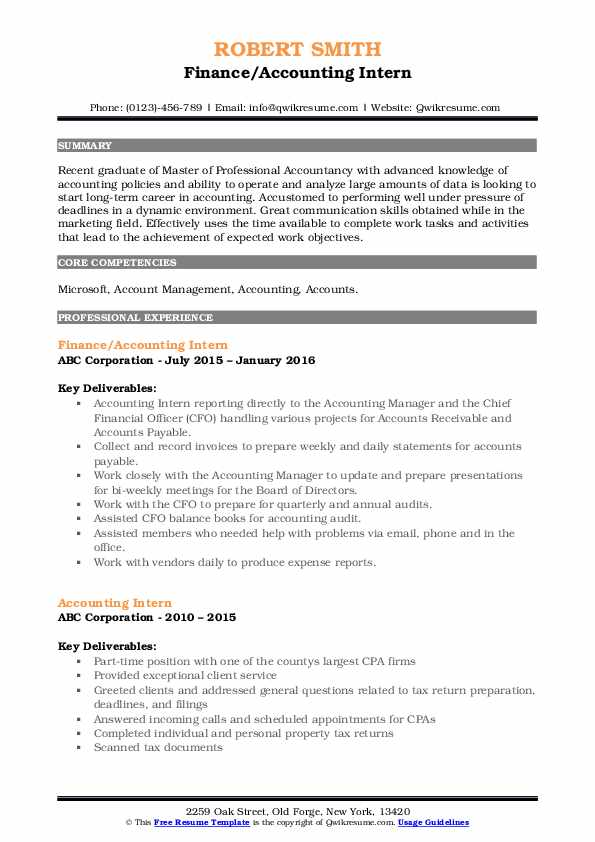Finance/Accounting Intern Resume Format