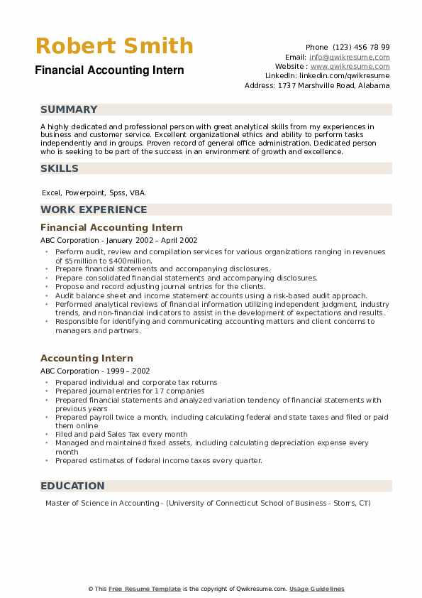 Financial Accounting Intern Resume Model