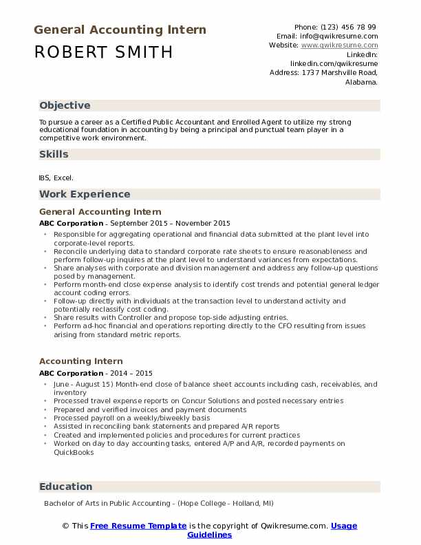 General Accounting Intern Resume Format