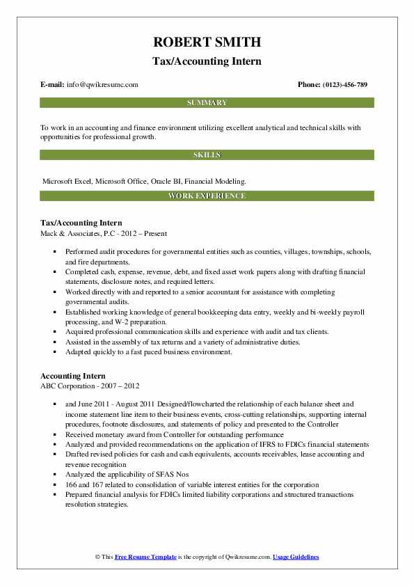 Tax/Accounting Intern Resume Format
