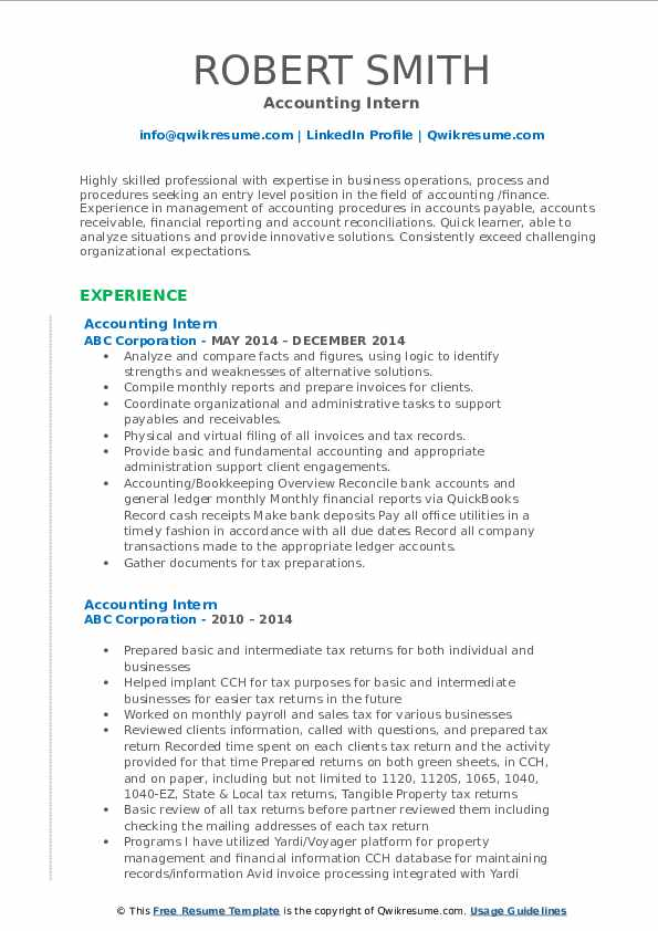Accounting Intern Resume example