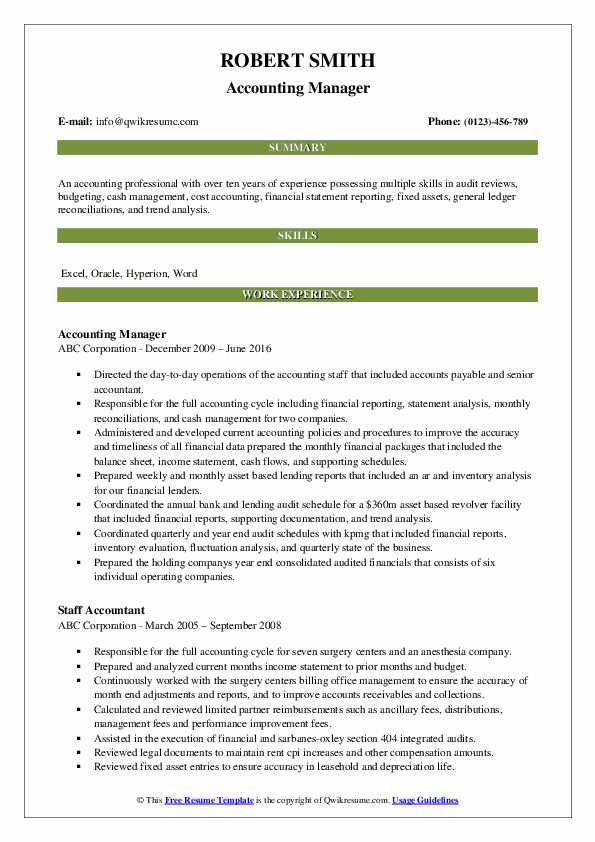Accounting Manager Resume Samples Qwikresume