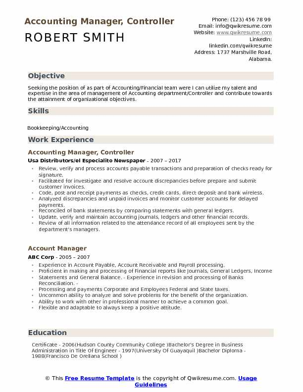 Accounting Manager, Controller Resume Sample