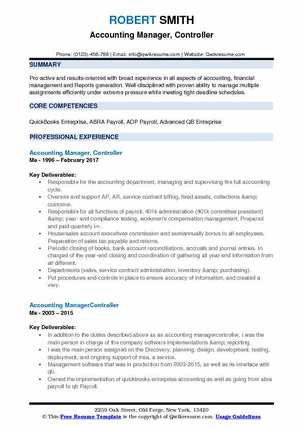 Accounting Manager, Controller Resume Template