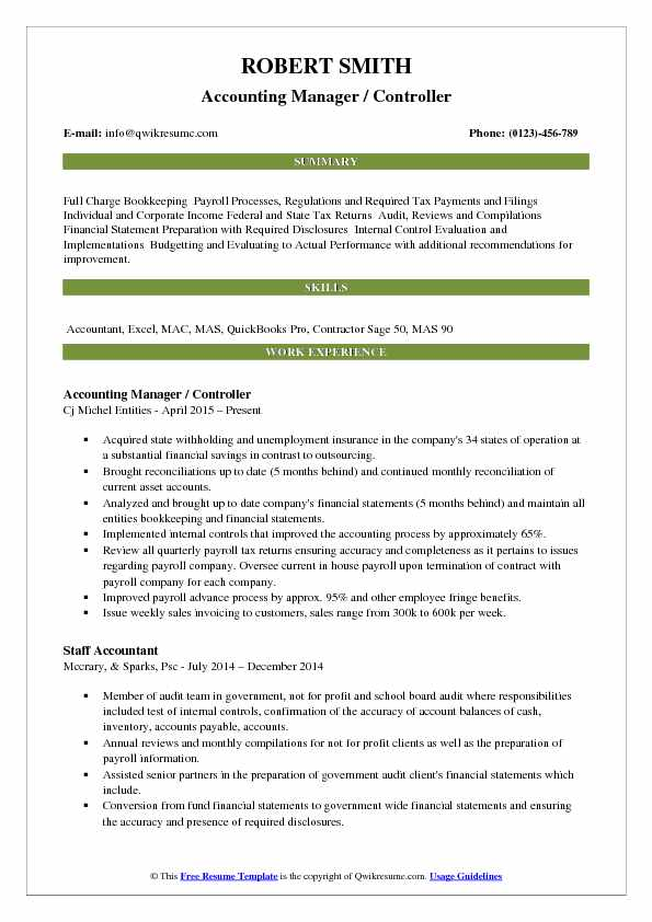 Accounting Manager Controller Resume Template