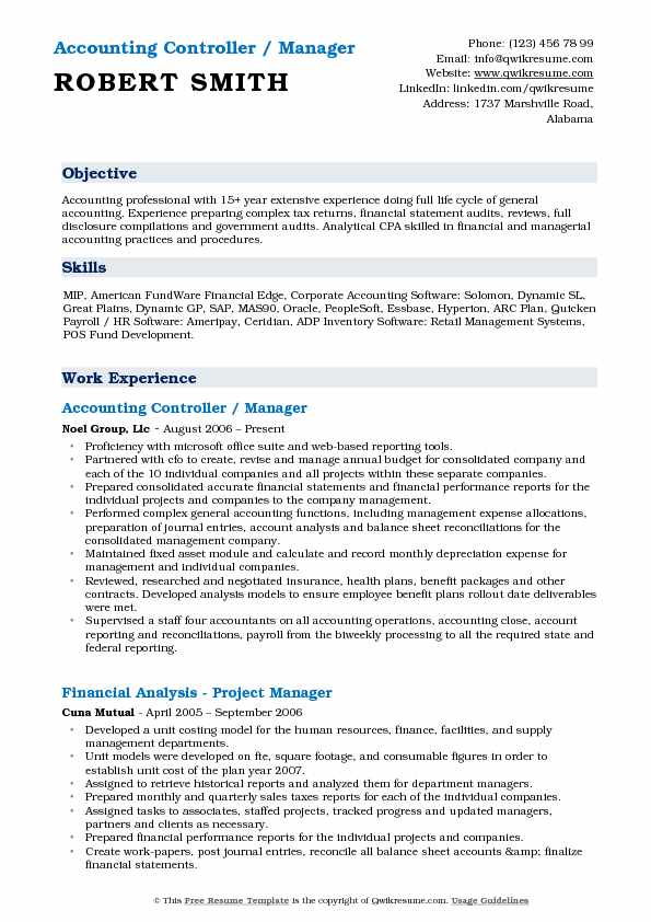 Accounting Manager Controller Resume Samples | QwikResume
