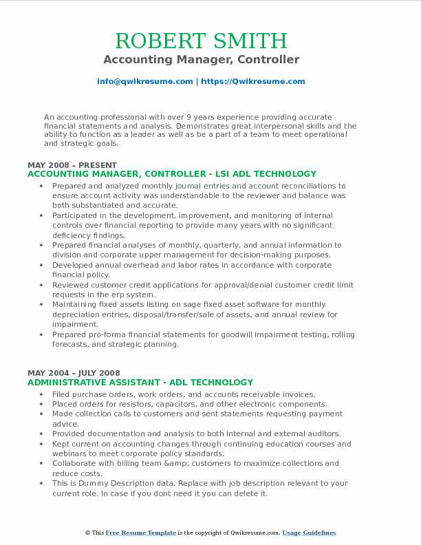 Accounting Manager, Controller Resume Format