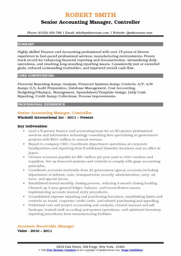 Senior Accounting Manager, Controller Resume Format