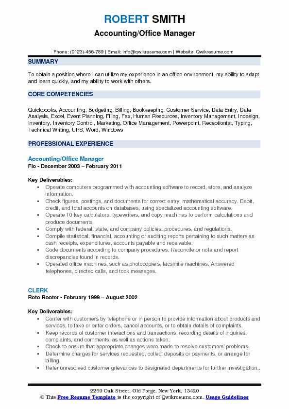 Accounting Office Manager Resume Samples | QwikResume