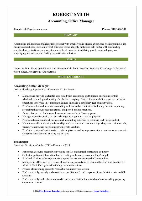 accounting office manager resume samples