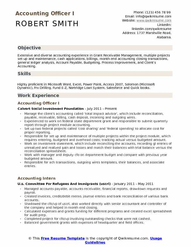 Accounting Officer I Resume Model
