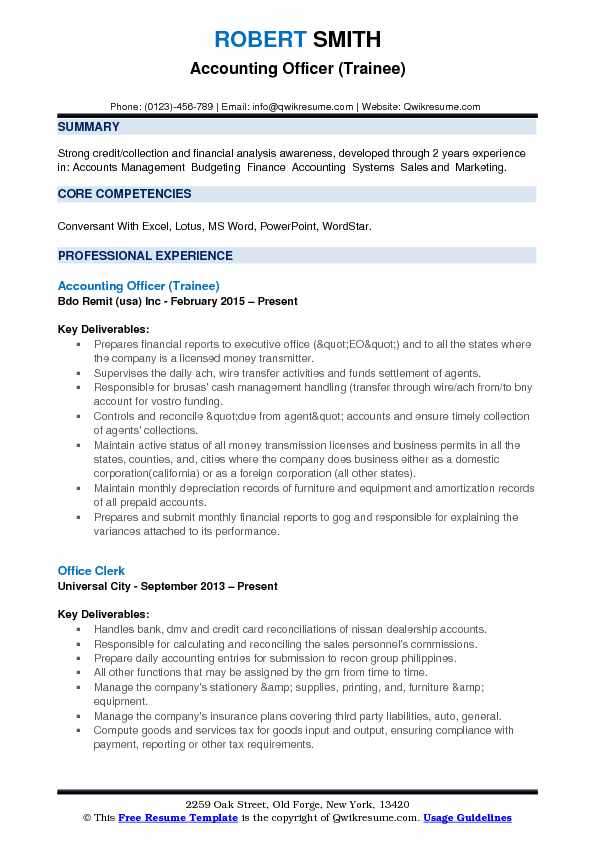 Accounting Officer (Trainee) Resume Format