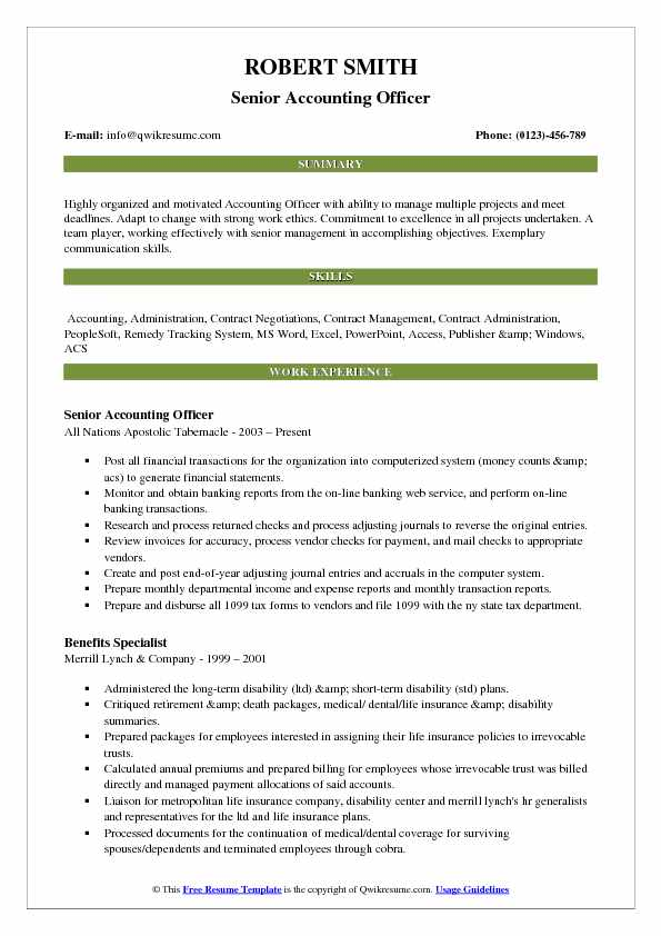Senior Accounting Officer Resume Format