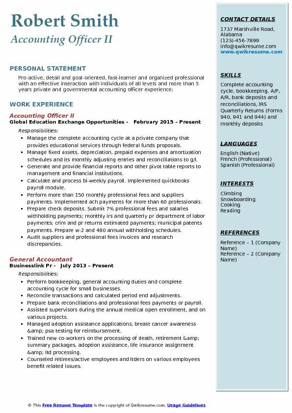 Accounting Officer II Resume Example