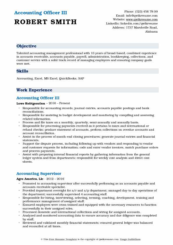Accounting Officer III Resume Sample