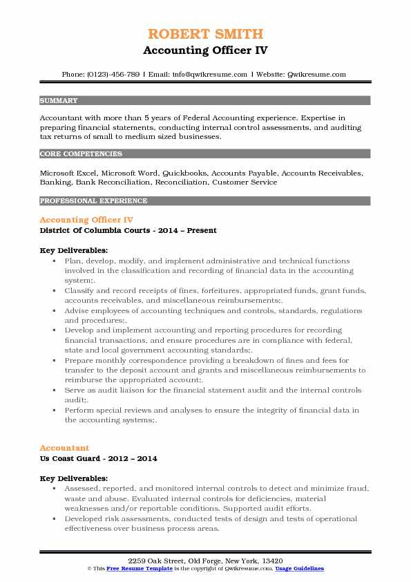 Accounting Officer IV Resume Model