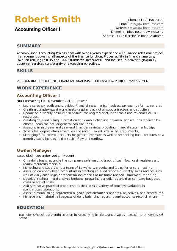 Accounting Officer Resume Samples | QwikResume