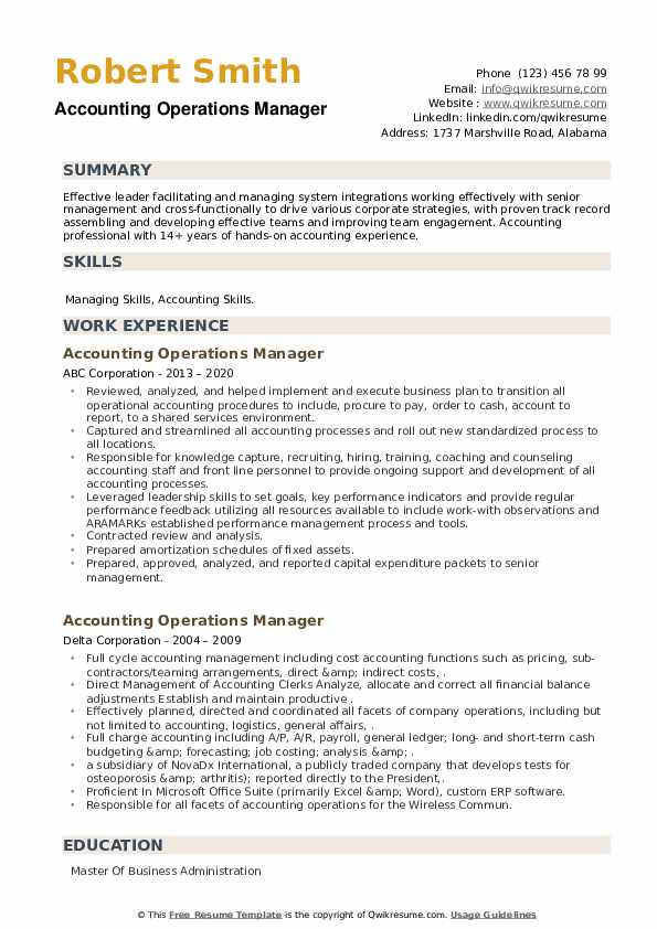 Accounting Operations Manager Resume example
