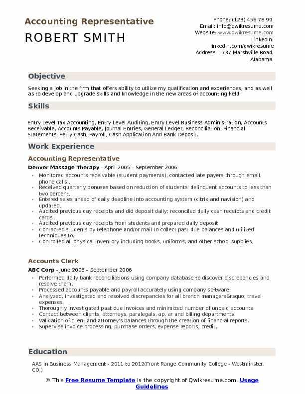 Accounting Representative Resume Format