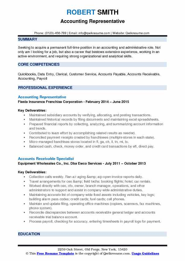 Accounting Representative Resume Example
