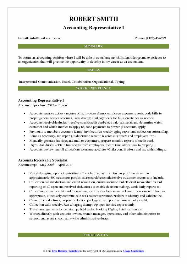 Accounting Representative I Resume Format