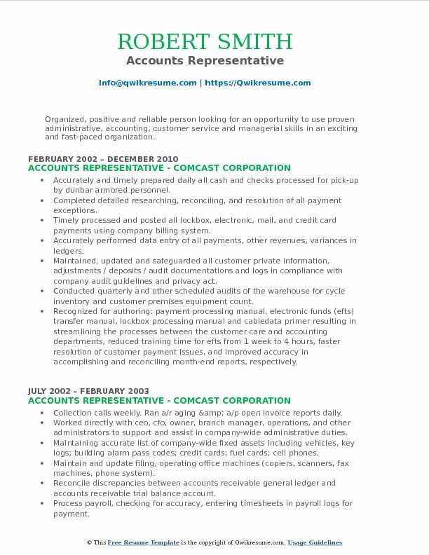 Accounts Representative Resume Format
