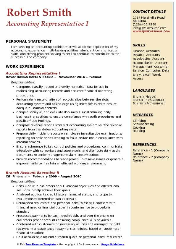 Accounting Representative I Resume Template