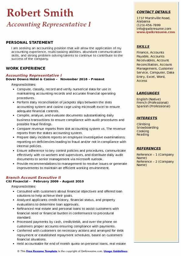 Accounting Representative I Resume Model