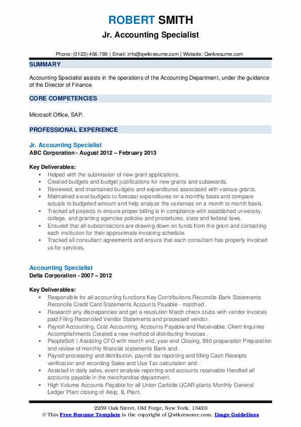 Accounting Specialist Resume Samples Qwikresume
