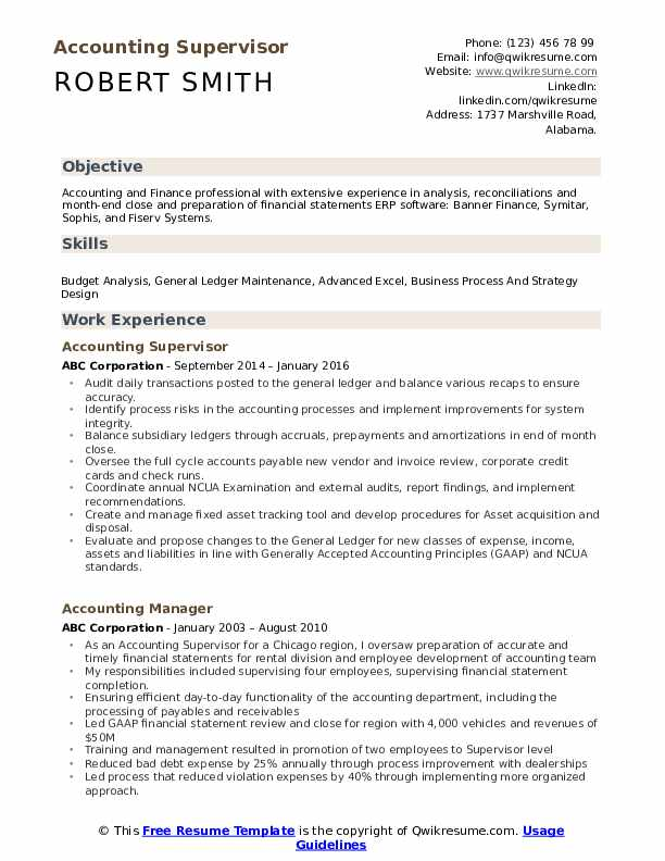 Accounting Supervisor Resume Format