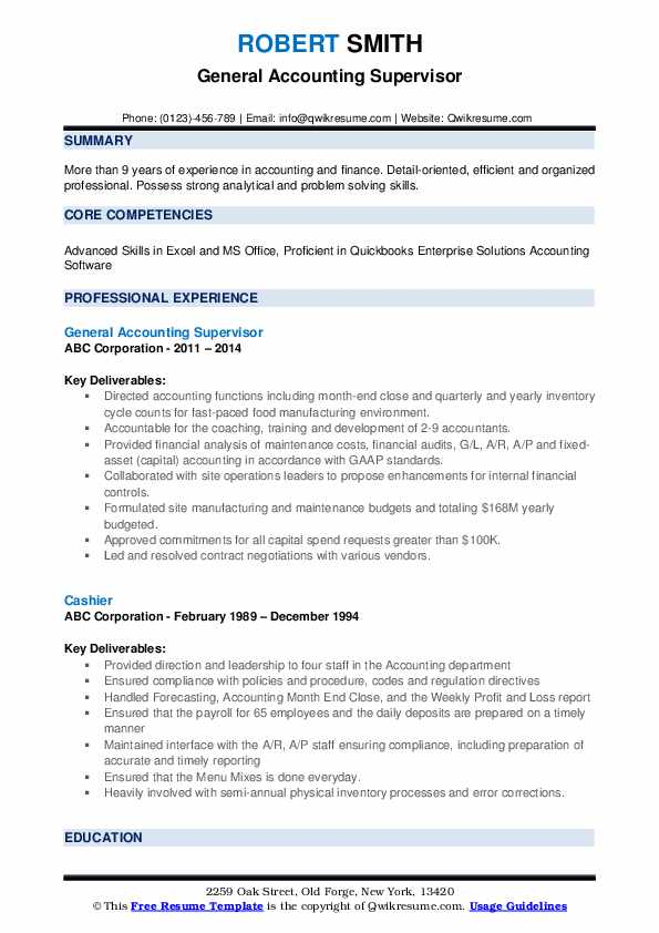 General Accounting Supervisor Resume Model