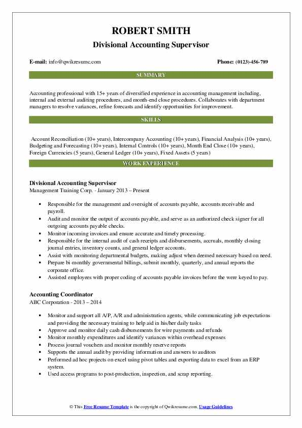 Divisional Accounting Supervisor Resume Format