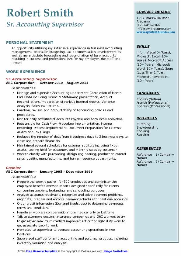 Sr. Accounting Supervisor Resume Template