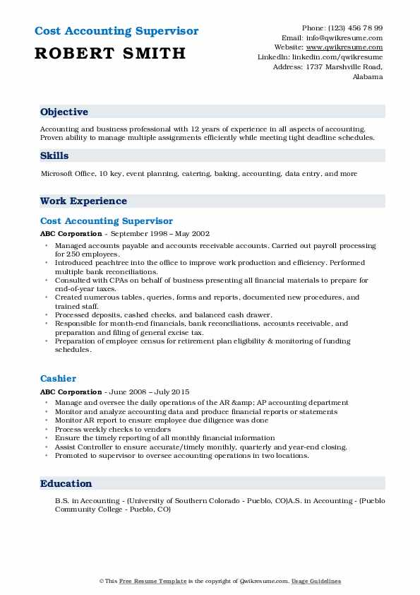 Cost Accounting Supervisor Resume Sample