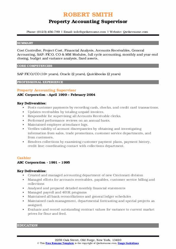 Property Accounting Supervisor Resume Example
