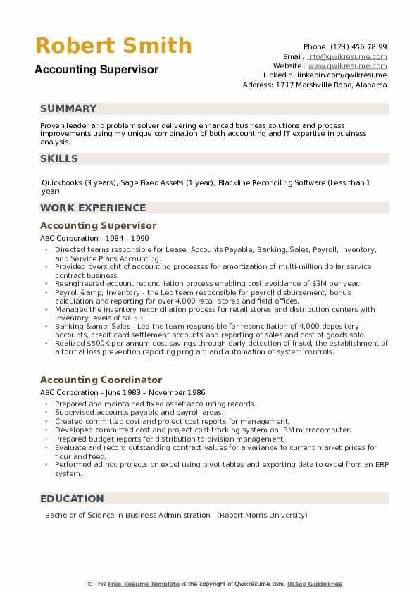 Accounting Supervisor Resume Sample
