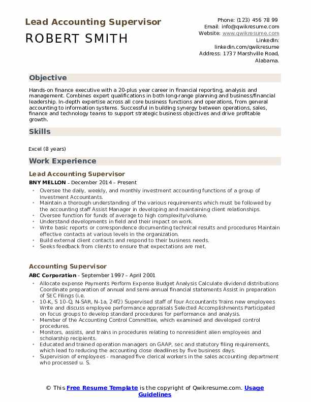 Lead Accounting Supervisor Resume Model