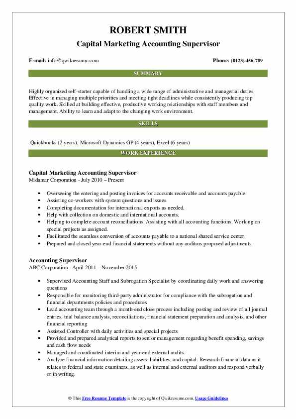 Capital Marketing Accounting Supervisor Resume Template