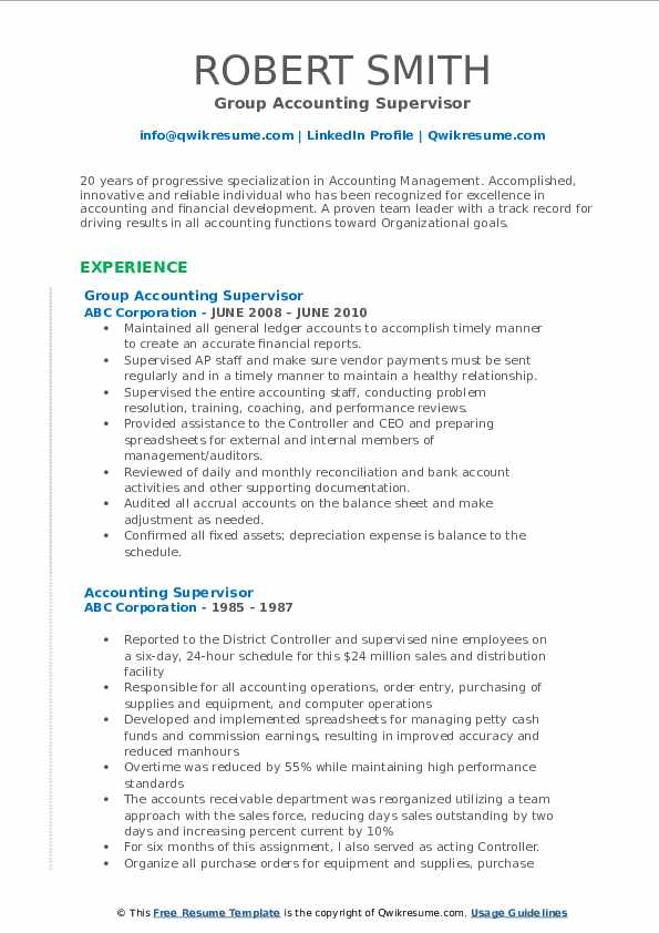 Group Accounting Supervisor Resume Template