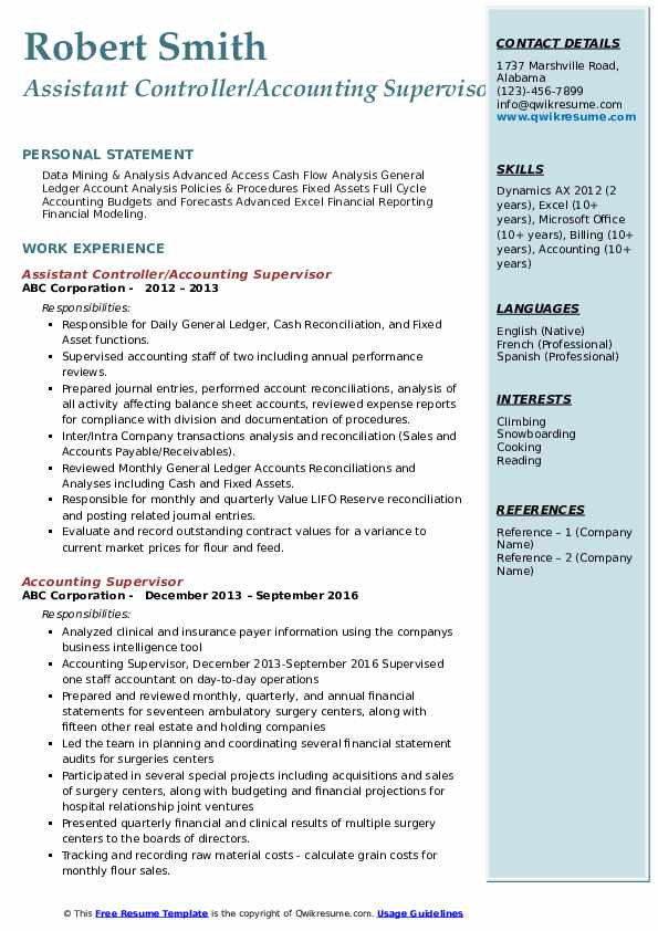 Assistant Controller/Accounting Supervisor Resume Example