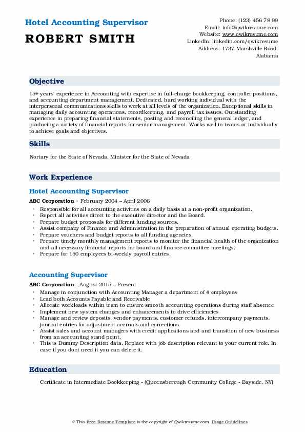Hotel Accounting Supervisor Resume Example