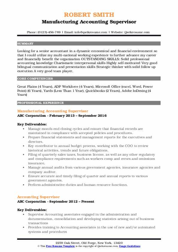 Manufacturing Accounting Supervisor Resume Template