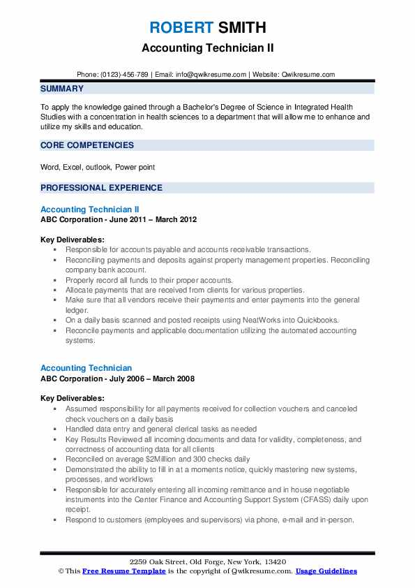 Accounting Technician II Resume Sample