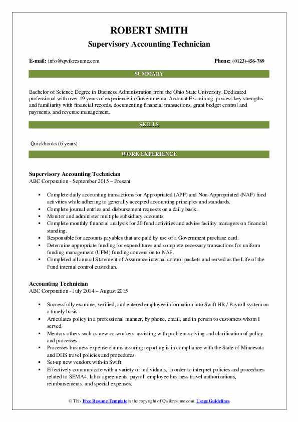 Supervisory Accounting Technician Resume Model