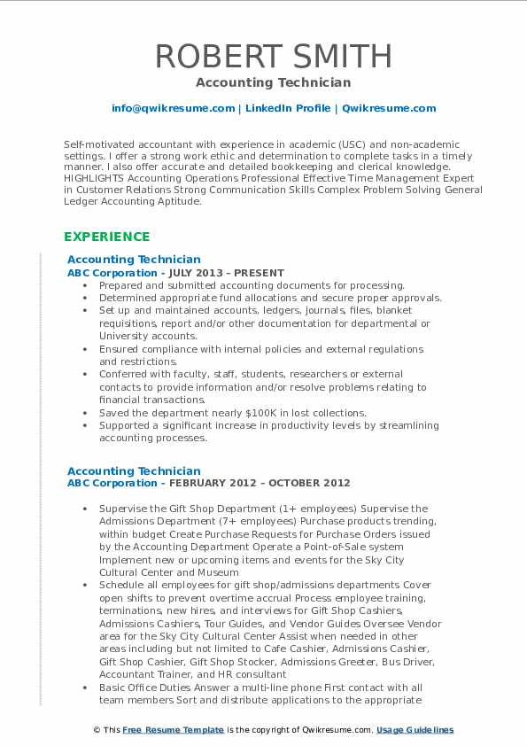 Accounting Technician Resume Model