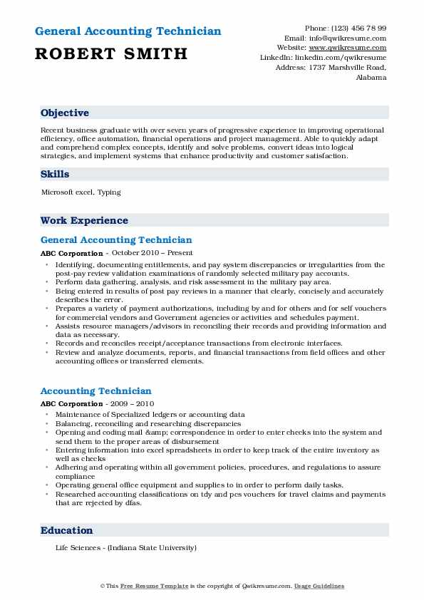 General Accounting Technician Resume Model