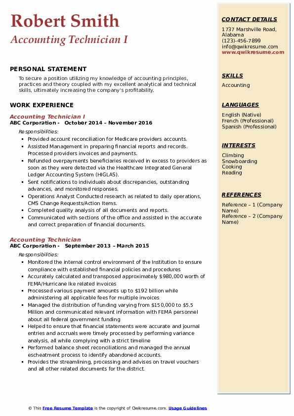 Accounting Technician I Resume Format