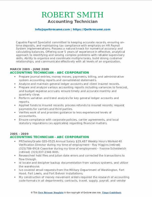 Payroll Supervisor/Staff Accountant Resume Sample